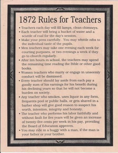 Rules for teachers 1872