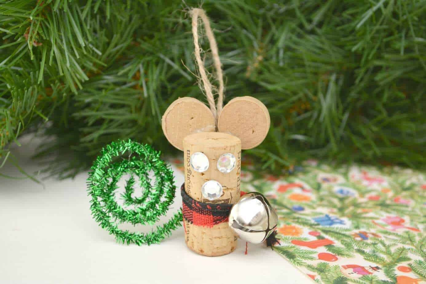 Make This Cute Wine Cork Mouse Ornament