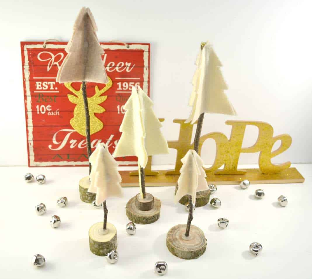 Rustic Felt and Twig Christmas Trees #Craft