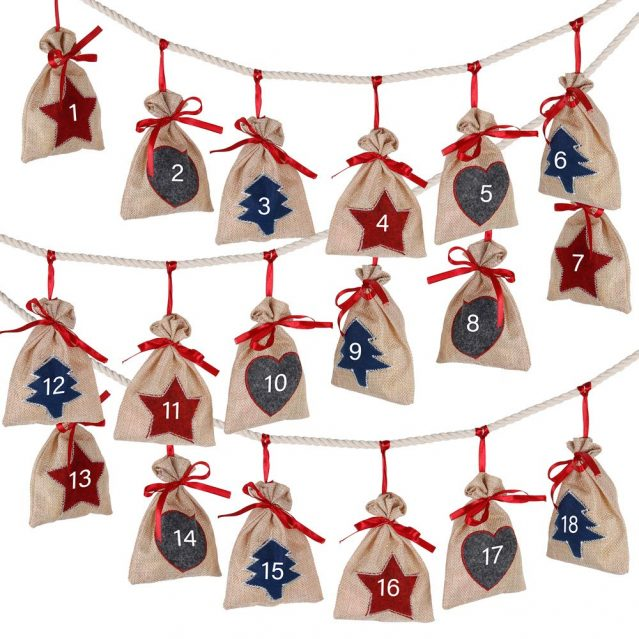 Reusable burlap sack advent calendar you can fill with your own surprises.