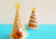 vintage style Christmas tree craft with paper cones and lace